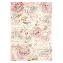 Papier de riz rose shabby Stamperia format A4