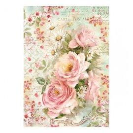 Papier de riz roses et marguerites Stamperia format A4