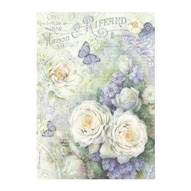 Papier de riz roses blanches et papillons Stamperia format A4