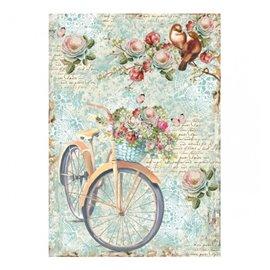 Papier de riz vélo et branche de fleurs Stamperia format A4