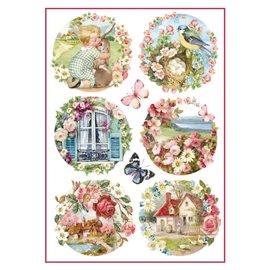 Papier de riz paysages floraux Stamperia format A4