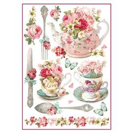 Papier de riz tasse et  théière à fleurs Stamperia format A4