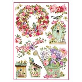 Papier de riz rose garden Stamperia format A4
