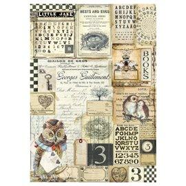 Papier de riz hibou et alphabet Stamperia format A4