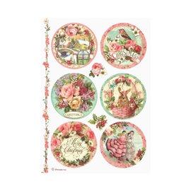 Papier de riz noël rose Stamperia format A4