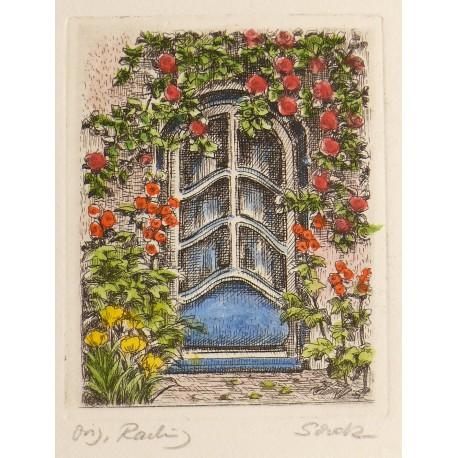 Gravure originale porte fleurie