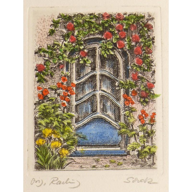 Gravure originale porte fleurie achat vente for Porte originale