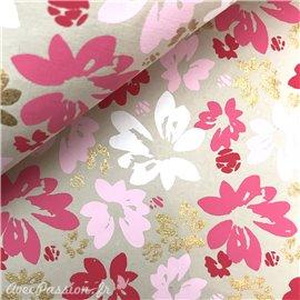 Papier indien fleurs rouge rose et doré sur taupe