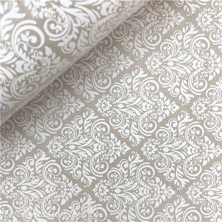 Papier kraft arabesques blanc sur taupe