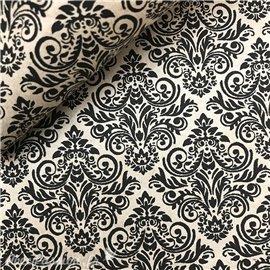 Papier kraft arabesques noir sur taupe