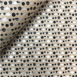 Papier kraft lignes noir argent sur taupe