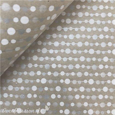 Papier kraft lignes blanc argent sur taupe