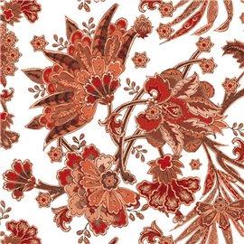 Papier italien motifs feuillage bordeaux et poudre d'or