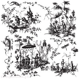 Tampons IOD Clear Stamps toile chinoiserie 30x30cm 11 pièces