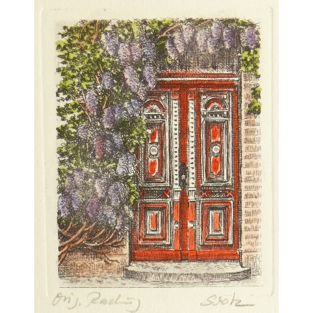 Gravure originale porte et glycine