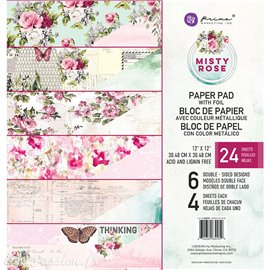Papier scrapbooking assortiment Misty rose et metallique 24fe 30x30