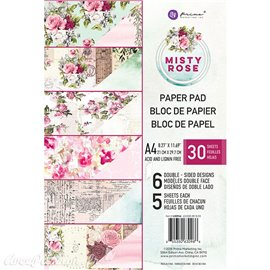 Papier scrapbooking A4 assortiment Prima Marketing Misty rose metallique