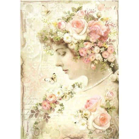 Papier de riz roses profil froreal Stamperia format A4