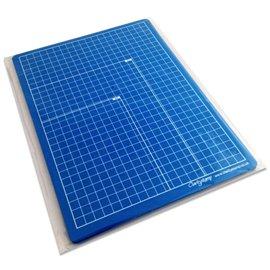 Tapis à embosser Groovi  A4 bleu gradué en cm double face