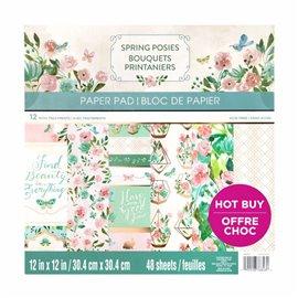 Papier scrapbooking assortiment bouquets printaniers bloc 48fe 30x30