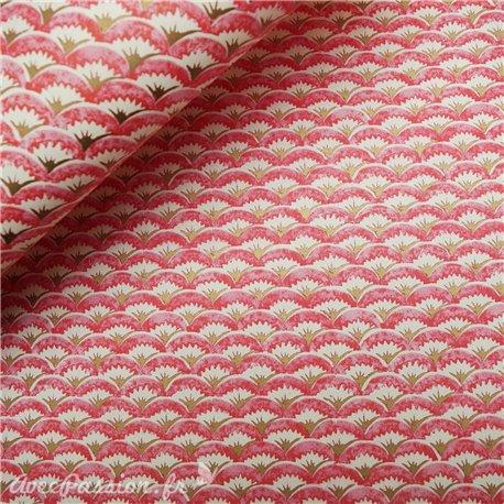 Papier tassotti à motifs arche rouge doré