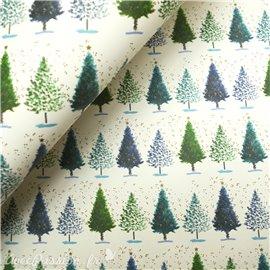 Papier tassotti à motifs sapin noël vert bleu