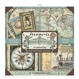 Papier scrapbooking assortiment voyages fantastiques 22f recto verso 30x30