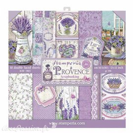 Papier scrapbooking assortiment provence 10f recto verso 30x30
