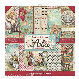 Papier scrapbooking assortiment alice 10f recto verso 30x30