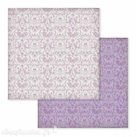 Papier scrapbooking réversible arabesques parme violet 30x30