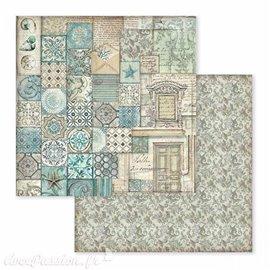 Papier scrapbooking réversible azulejo 30x30
