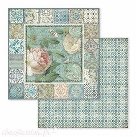 Papier scrapbooking réversible azulejo roses 30x30