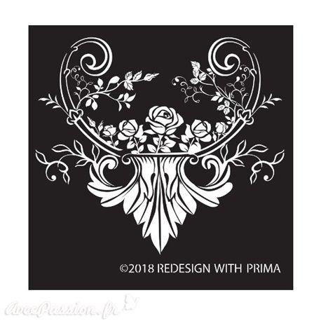 Pochoir en soie silk screen redesign Prima provence rose