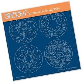 Groovi gabarit traçage parchemin josie's fleurs et feuilles
