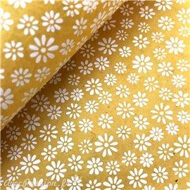 Papier fantaisie summer fleuri jaune imprimé blanc
