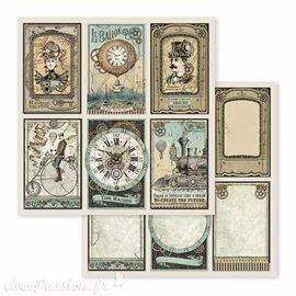 Papier scrapbooking réversible voyages fantastiques 30x30