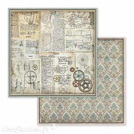 Papier scrapbooking réversible engrenages voyages fantastiques 30x30