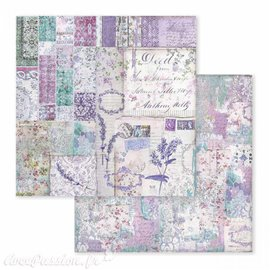 Papier scrapbooking réversible  provence écritures 30x30