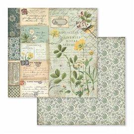 Papier scrapbooking réversible spring botanic pavot alpin 30x30