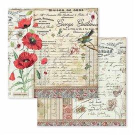 Papier scrapbooking réversible spring botanic petit oiseau 30x30