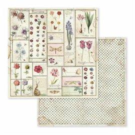 Papier scrapbooking réversible botanique printanier 30x30