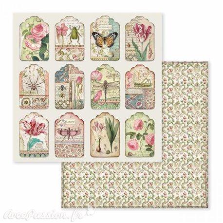 Papier scrapbooking réversible étiquettes botaniques 30x30
