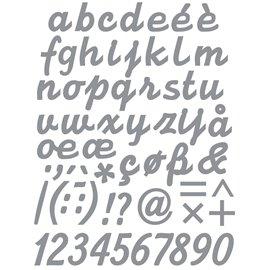 Sticker peel off adhésif argent alphabet minuscules