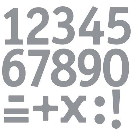 Sticker peel off adhésif argent chiffres et symboles
