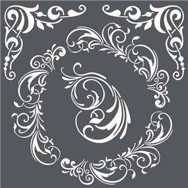 Pochoir décoratif 3D décors et coins 18x18cm
