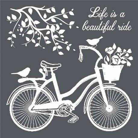Pochoir décoratif 3D vélo 18x18cm