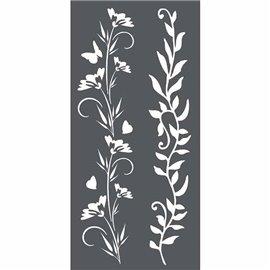 Pochoir décoratif 3D frises de fleurs 18x18cm 2 motifs