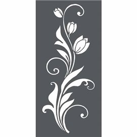 Pochoir décoratif 3D frise tulipe 12x25cm