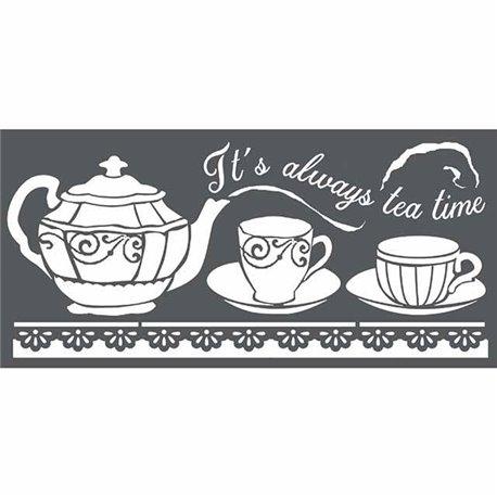 Pochoir décoratif 3D tea time 12x25cm