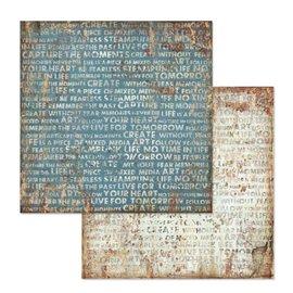 Papier scrapbooking réversible écritures mécanique fantastique 30x30